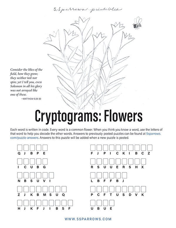 Cryptograms: Flowers
